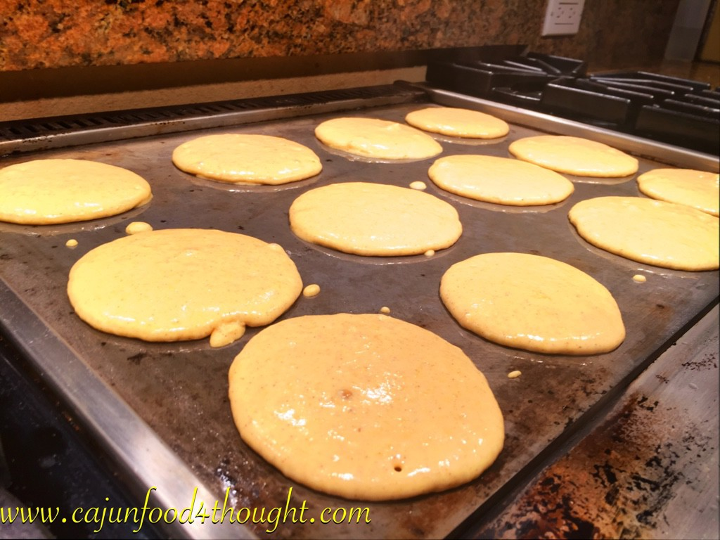 Easy and delicious pumpkin pancakes going the griddle